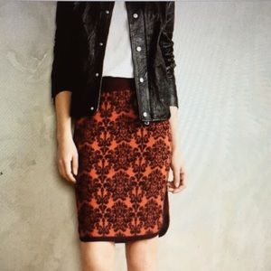 Anthropologie Moth Jacquard Knit Pencil Skirt XSP